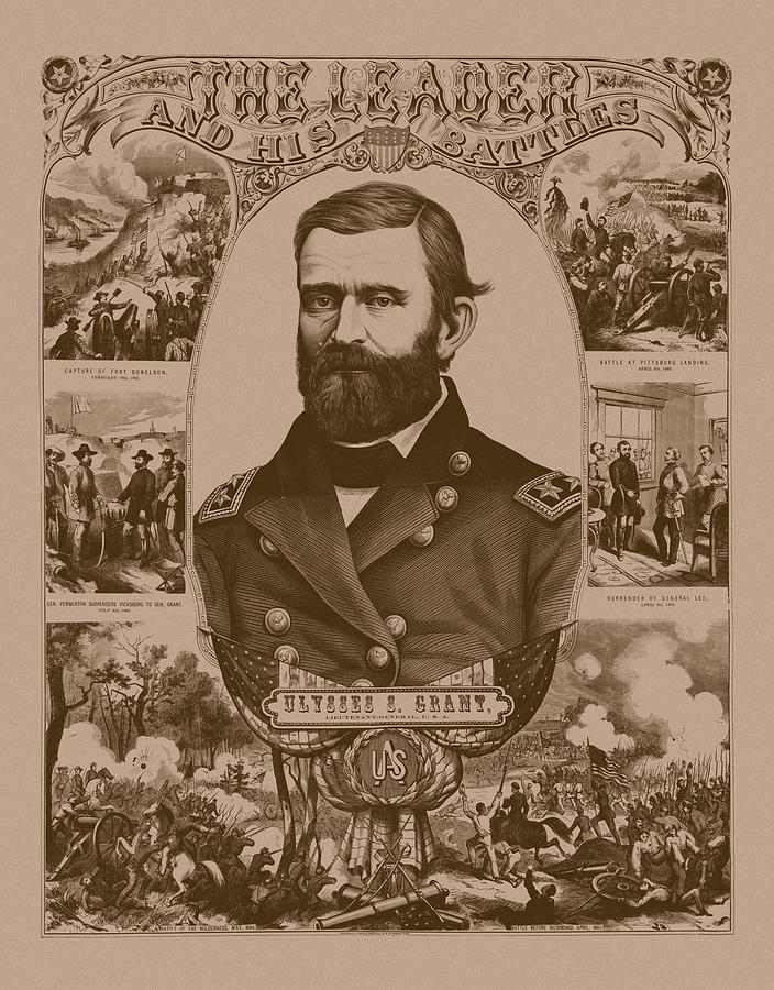 General Grant Mixed Media - The Leader And His Battles - General Grant by War Is Hell Store