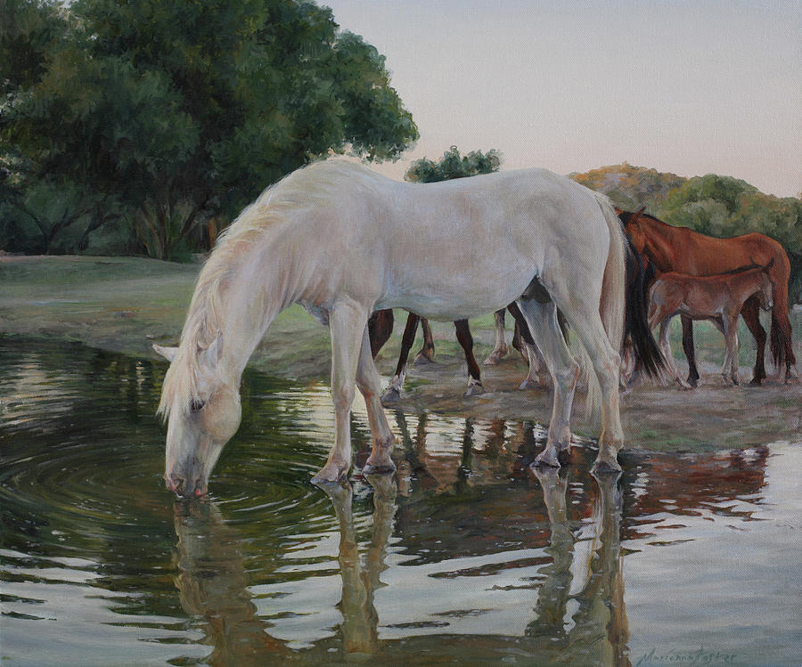 Horse Painting - The leader drinks first by Marianna Foster
