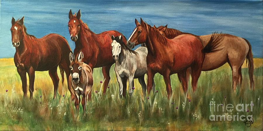 Horses Painting - The Leader Of The Pack by Patty Vicknair