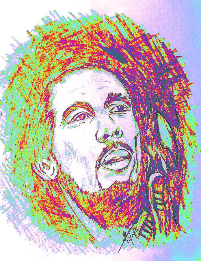 Online Art Gallery Drawing - The Legendary Bob Marley by Collin A Clarke
