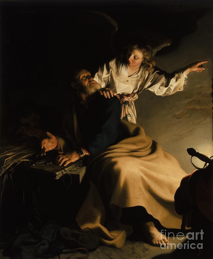 Angel Painting - The Liberation Of Saint Peter by Abraham Bloemaert