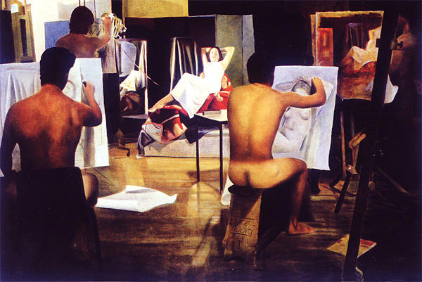 Male Painting - The Life Class by Toby Boothman