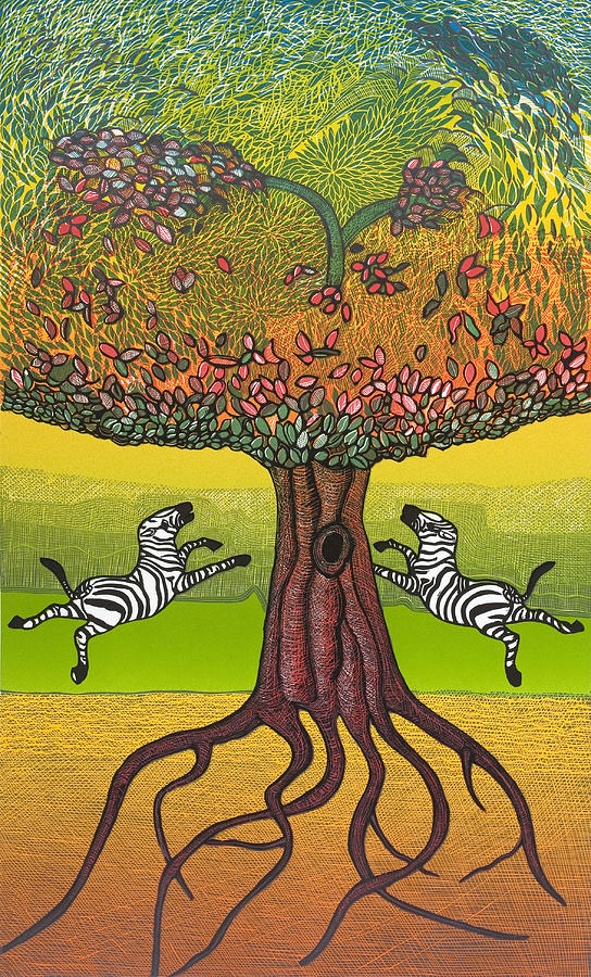 Landscape Mixed Media - The Life-giving Tree. by Jarle Rosseland