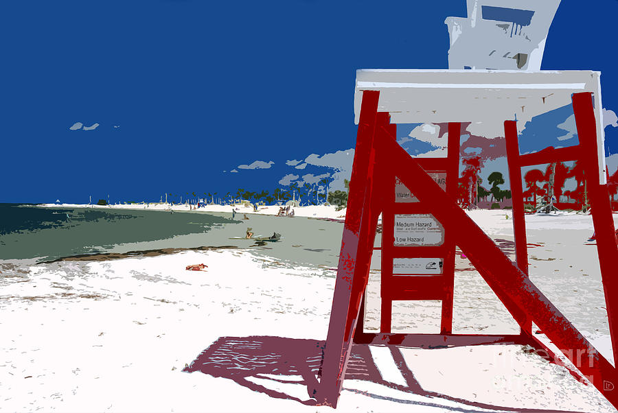 Lifeguard Stand Painting - The Lifeguard Stand by David Lee Thompson