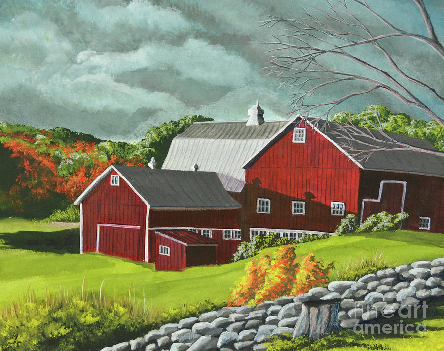 Red Barn Painting - The Light After The Storm by Charlotte Blanchard