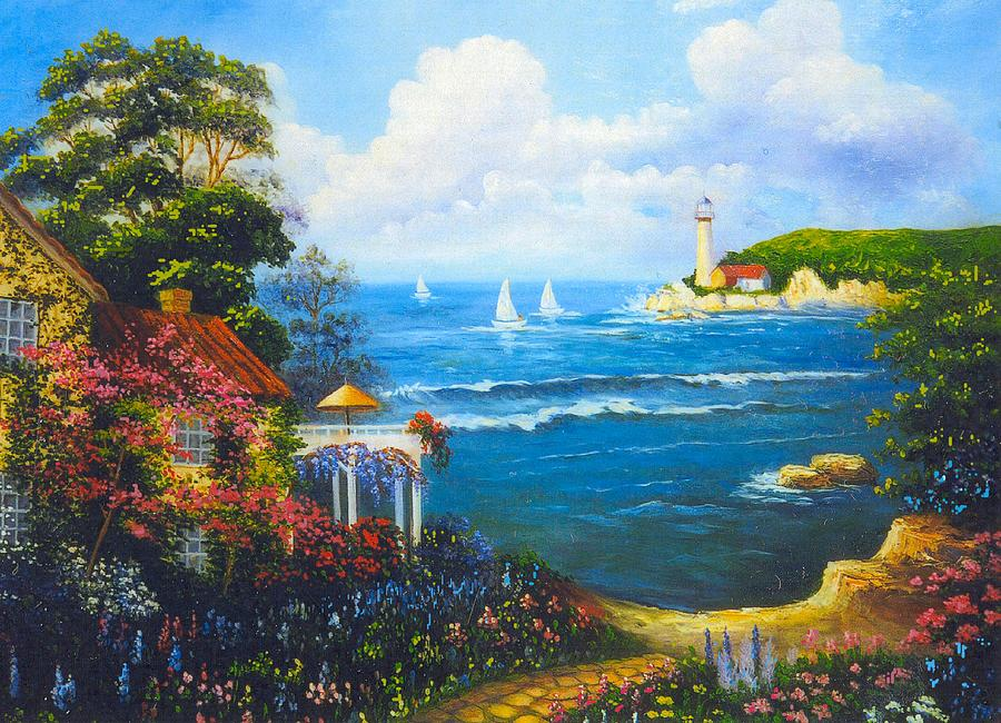 Lighthouse Digital Art - The Light House By The  Sea by Jeanene Stein