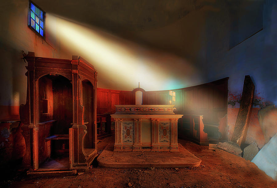 Atmosfera Photograph - The Light In The Abandoned Church - La Luce Nella Chiesa Abbandonata by Enrico Pelos
