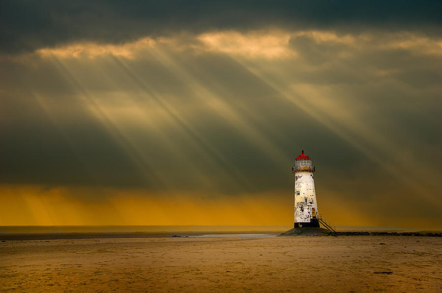 Atmosphere Photograph - The Lighthouse As The Storm Breaks by Meirion Matthias