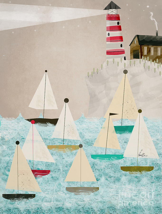 Sailing Painting - The Lighthouse by Bri Buckley