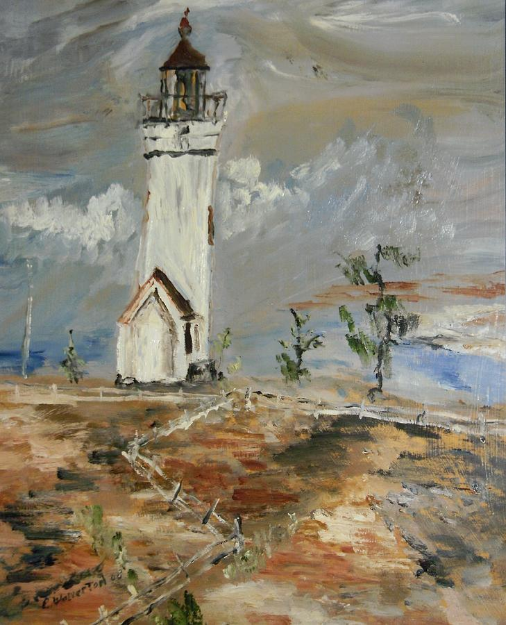 Seascape Painting - The Lighthouse by Edward Wolverton