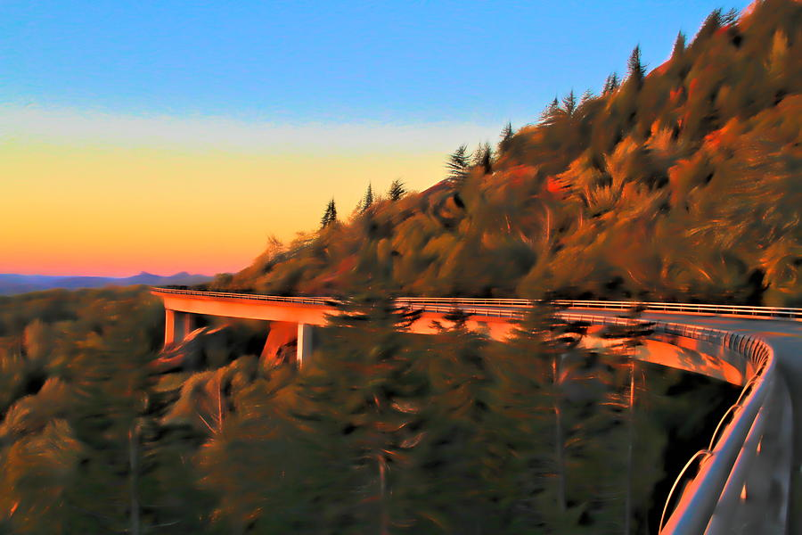 The Linn Cove Viaduct At Sunrise Mixed Media