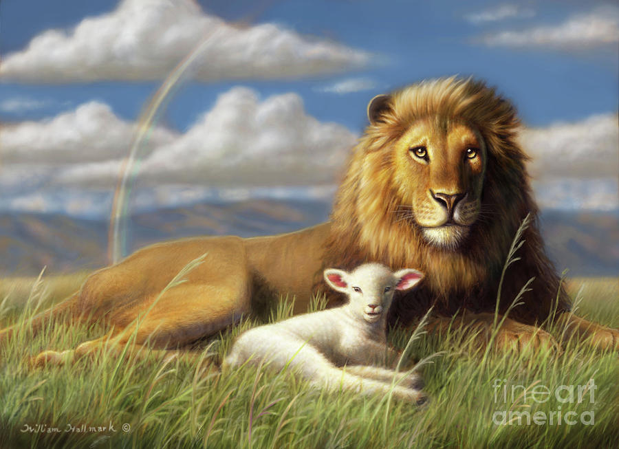 The Lion And Lamb Painting by William Hallmark