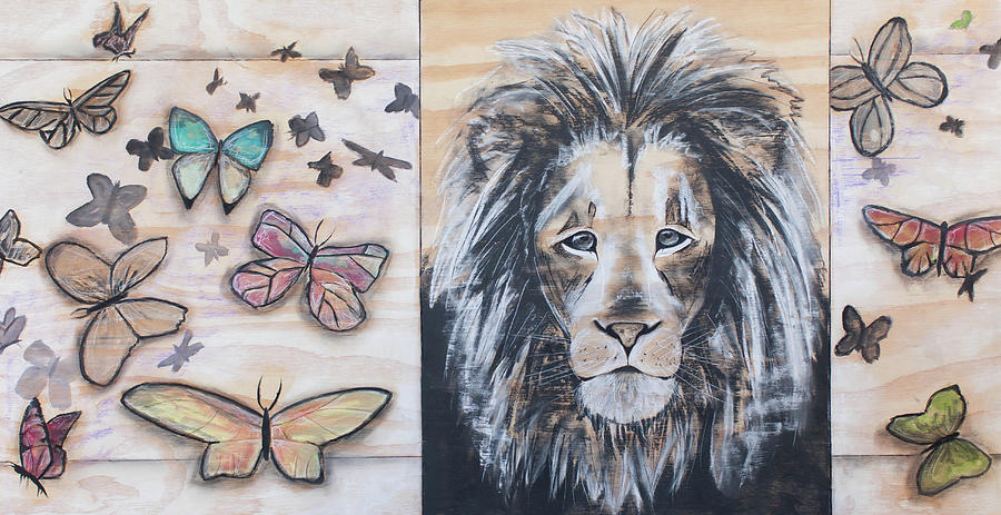 Lion Drawing - The Lion And The Butterflies by Amber Ellison