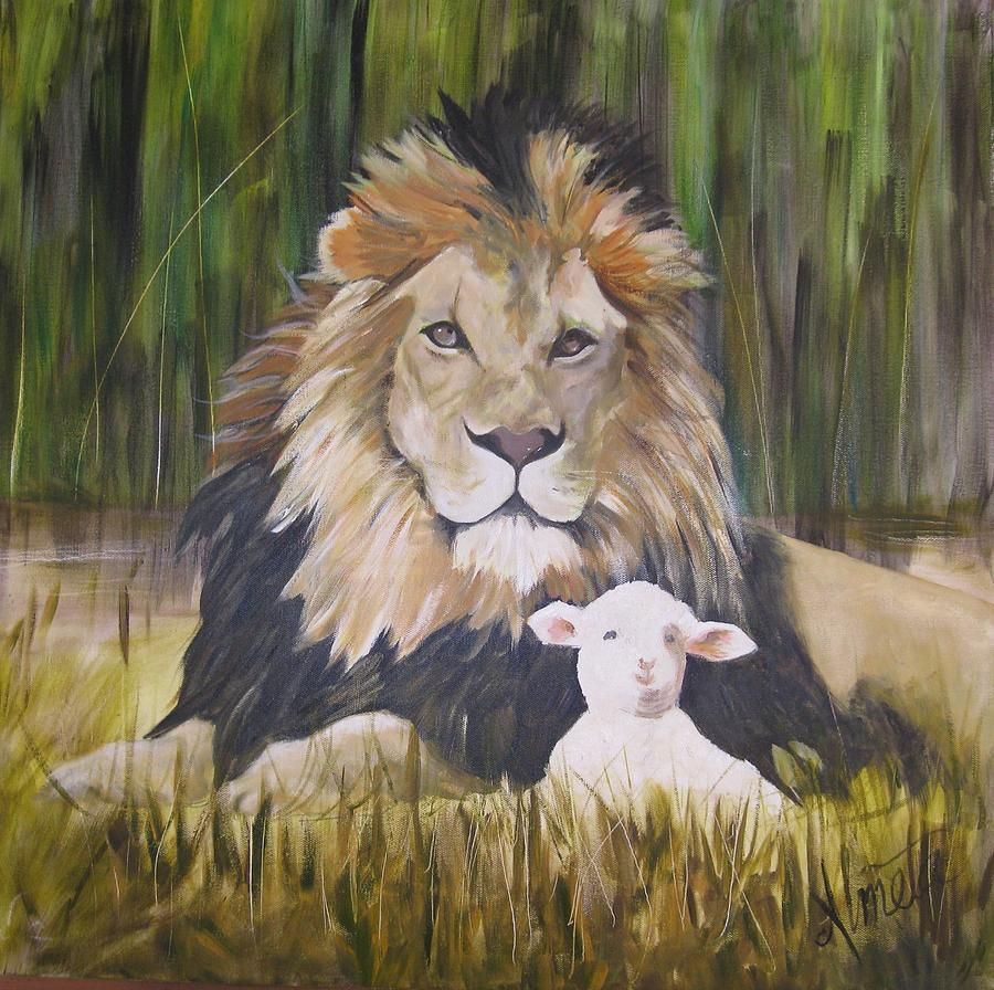 The Lion And The Lamb Painting by Almeta LENNON for Lion And Lamb Painting  83fiz