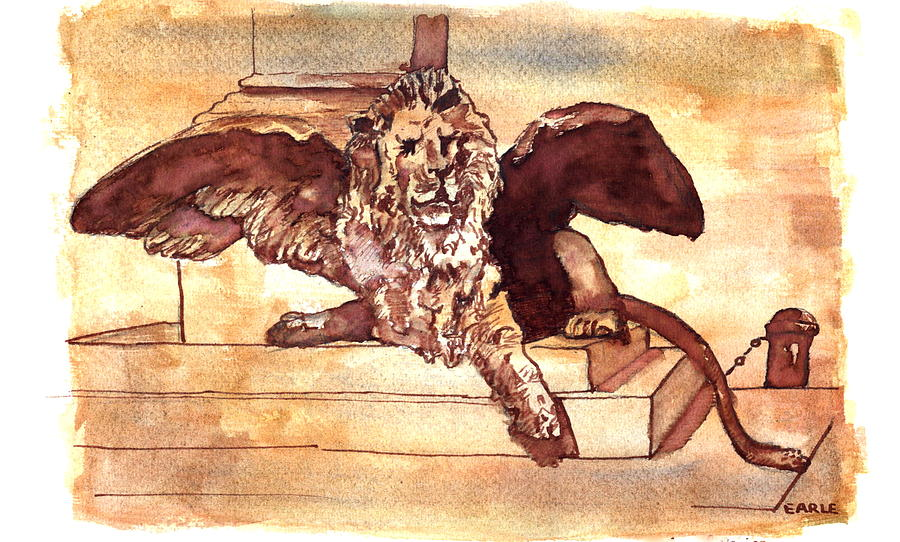 Sketch Drawing - The Lion Of Venice by Dan Earle