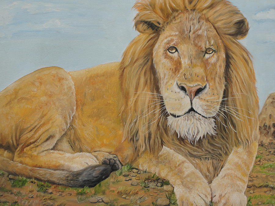 Lion Painting - The Lion by Rajesh Chopra