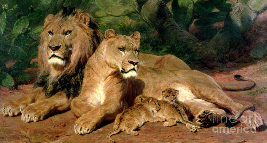 Lions Painting - The Lions At Home by Rosa Bonheur