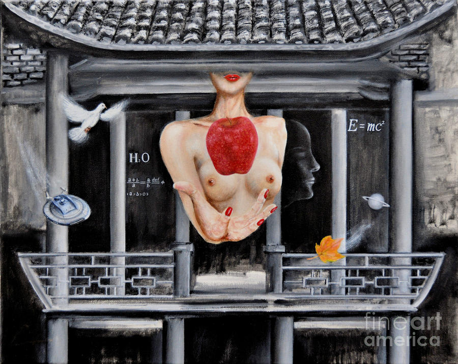 Ch Painting - The Lips Of Forgetting Craziness by CH Narrationism