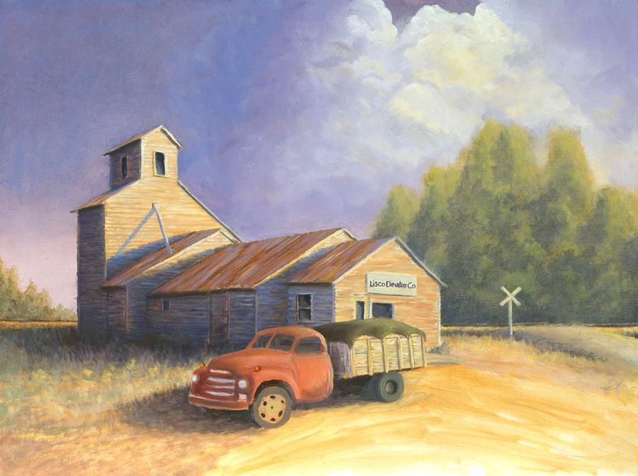 Nebraska Painting - The Lisco Elevator by Jerry McElroy