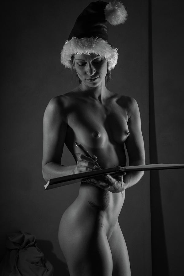 Monochromatic Nude Photograph - The List II - Sexy Santa VI by Blue Muse Fine Art