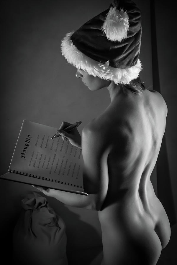 Monochromatic Nude Photograph - The List - Sexy Santa V by Blue Muse Fine Art