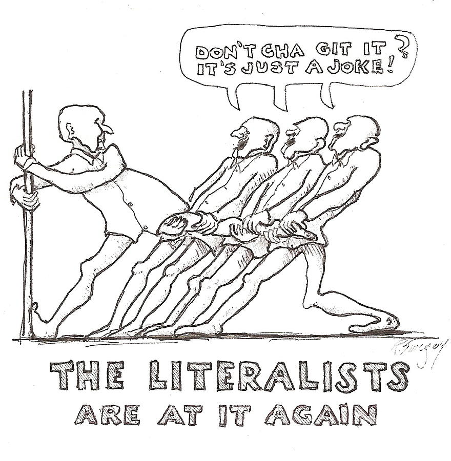 The Literalists Drawing by Roger Swezey