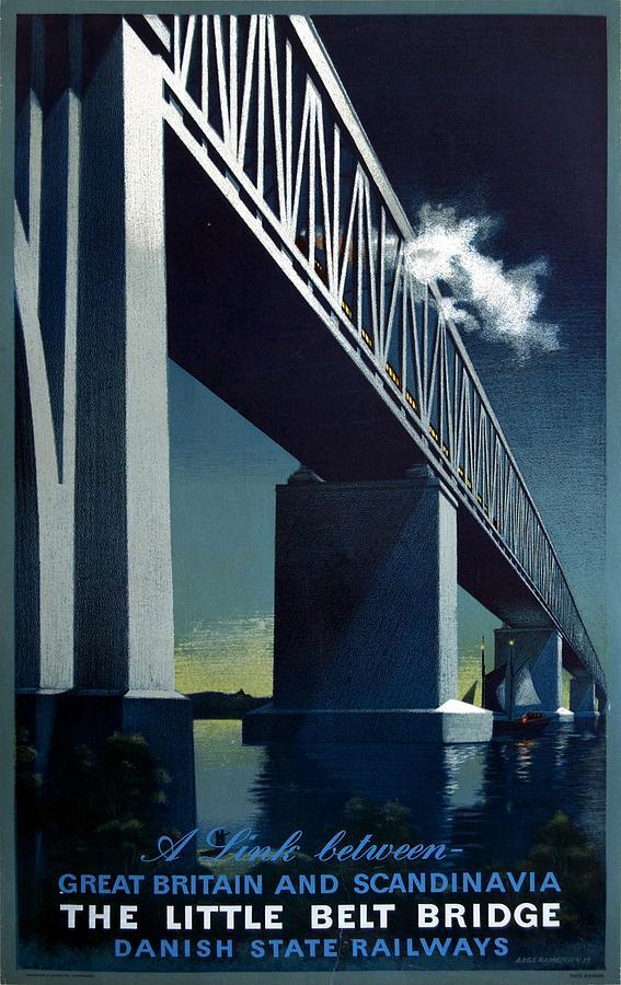 The Little Belt Bridge - Danish State Railways - Retro Travel Poster - Vintage Poster Mixed Media
