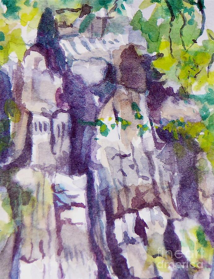 Purple Painting - The Little Climbing Wall by Jan Bennicoff