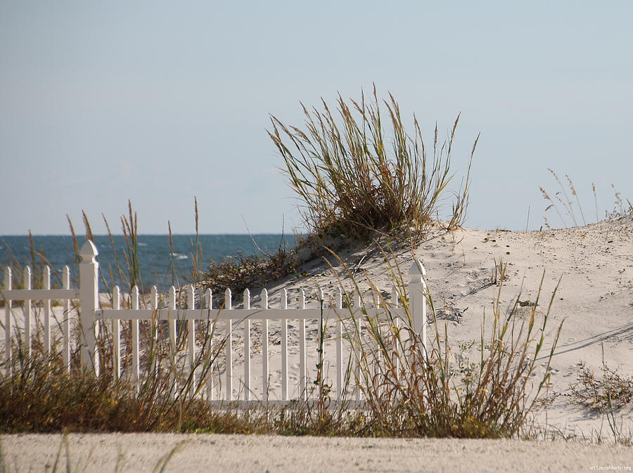 Beach Photograph - The Little Dune And The White Picket Fence by Laura Martin