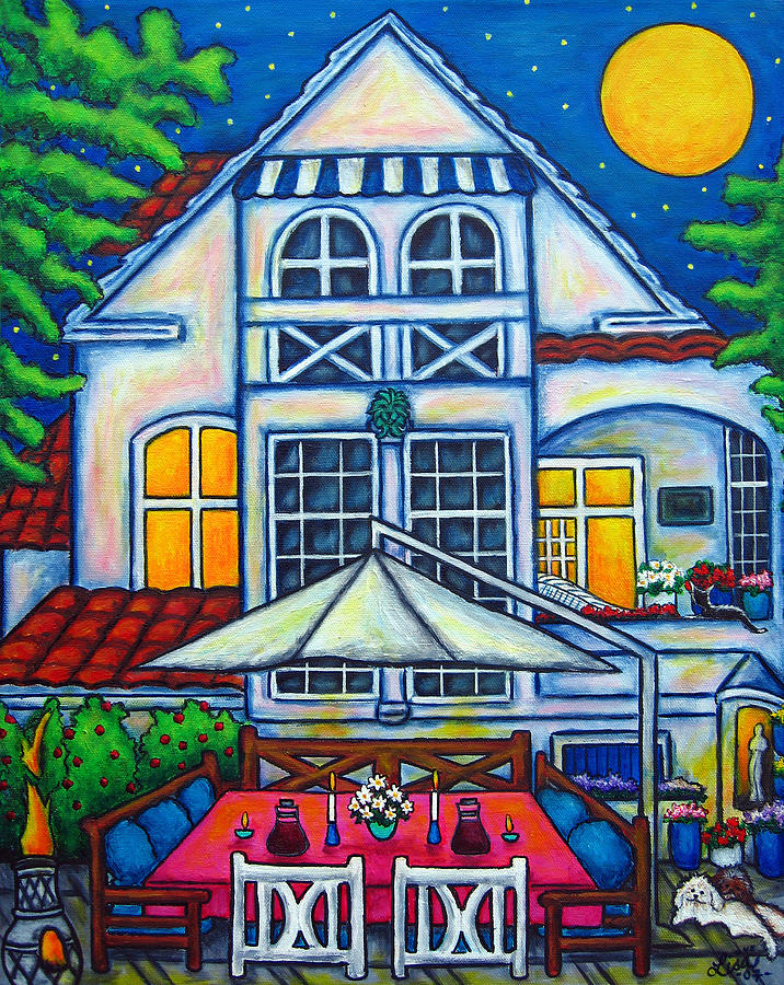 Denmark Painting - The Little Festive Danish House by Lisa  Lorenz