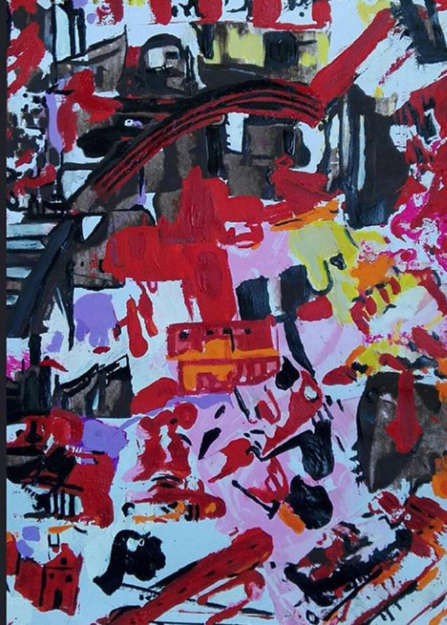 Red Painting - The Little House Under The Bridge by Denise Morgan
