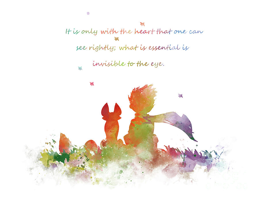 The Little Prince Quote Le Petit Prince with Fox Watercolor Painting Print Art