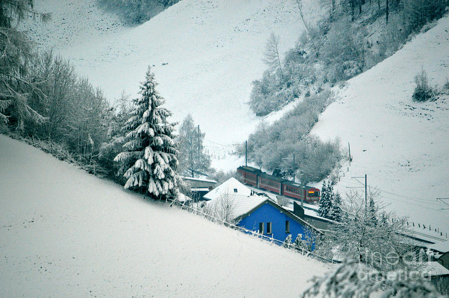 The Little Red Train - Winter In Switzerland Photograph