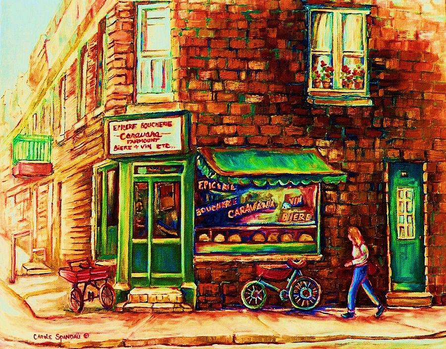 Montreal Painting - The Little Red Wagon by Carole Spandau
