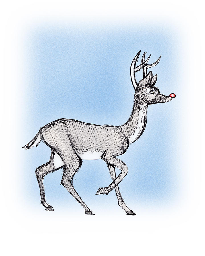Pen And Ink Drawing - The Little Reindeer  by Keith A Link