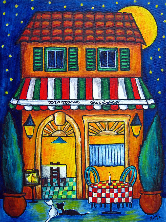 Blue Painting - The Little Trattoria by Lisa  Lorenz