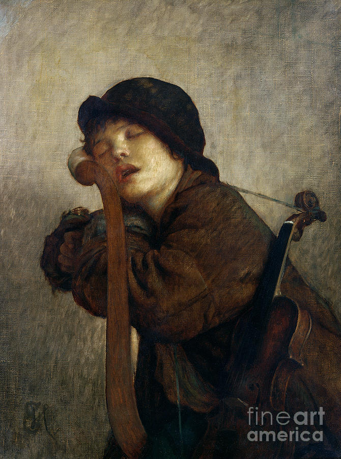 Boy Painting - The Little Violinist Sleeping by Antoine Auguste Ernest Hebert