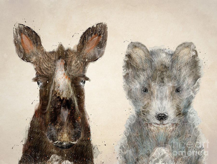 Wolfs Painting - The Little Wolf And Moose by Bri Buckley