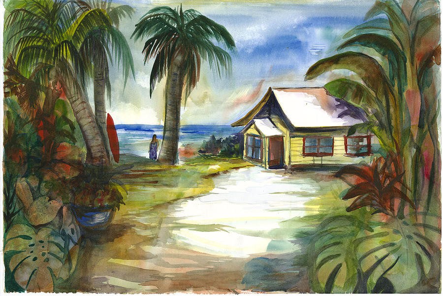 Little Yellow Beach House Painting by Ileana Carreno