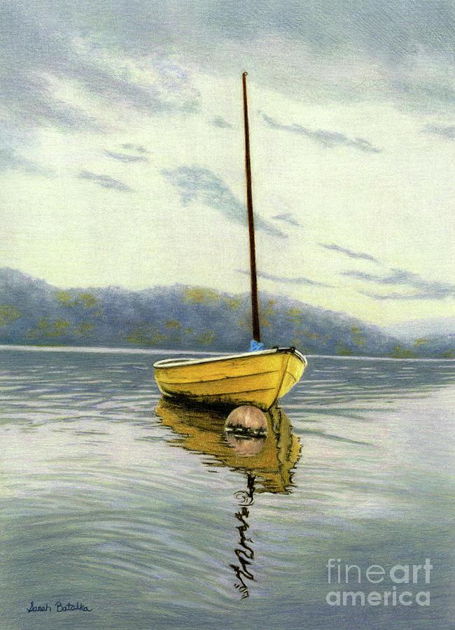 Sailboat Painting - The Yellow Sailboat by Sarah Batalka