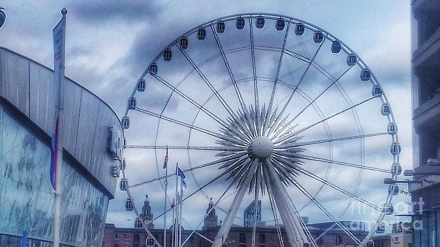 Ferris Wheel Photograph - The Liverpool Wheel In Blues by Joan-Violet Stretch