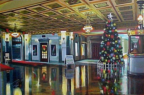 Interior Painting - The Lobby At Christmastime by Bobbi Baltzer-Jacobo