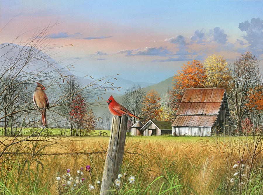 Farm Painting - The Locals by Mike Brown