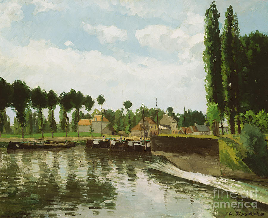 Pissarro Painting - The Lock At Pontoise by Camille Pissarro