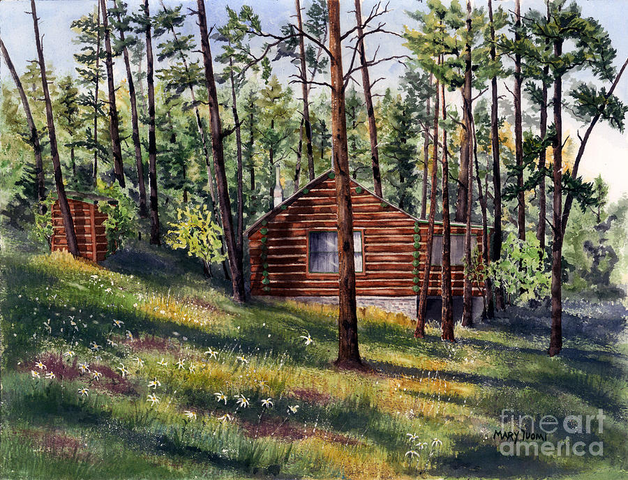 Nature Painting - The Log Cabin by Mary Tuomi