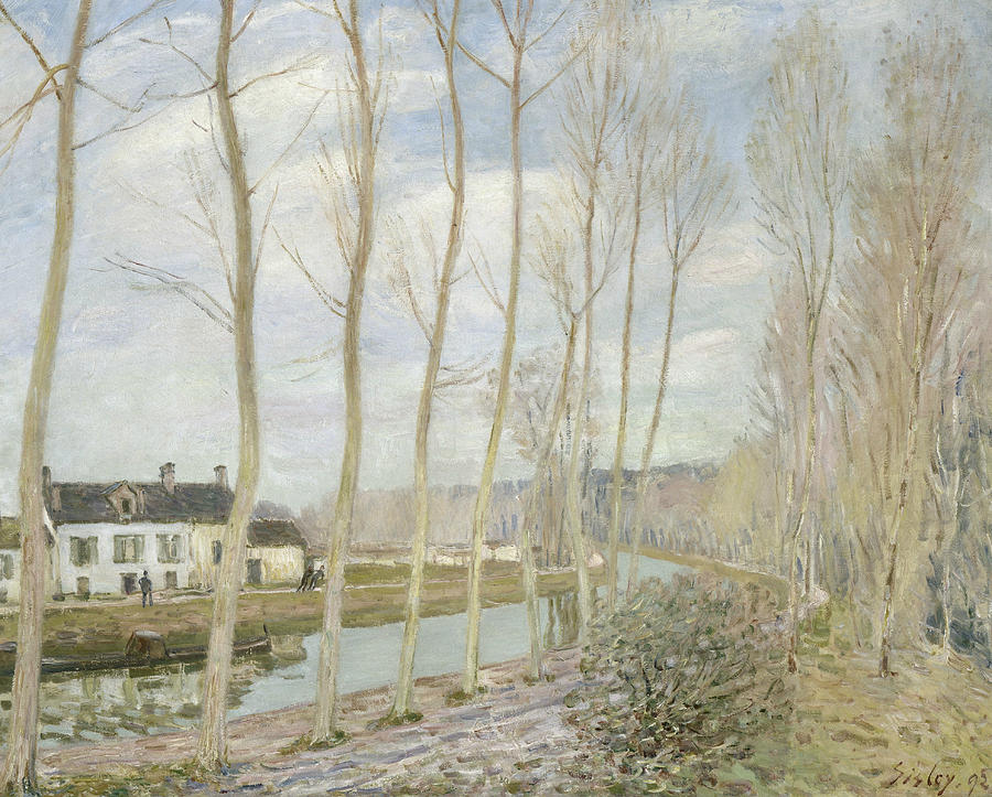 Alfred Sisley Painting - The Loings Canal by Alfred Sisley