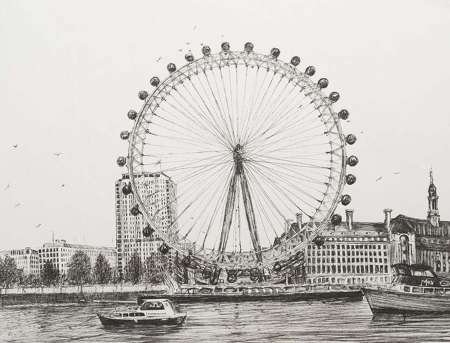 London Drawing - The London Eye by Vincent Alexander Booth