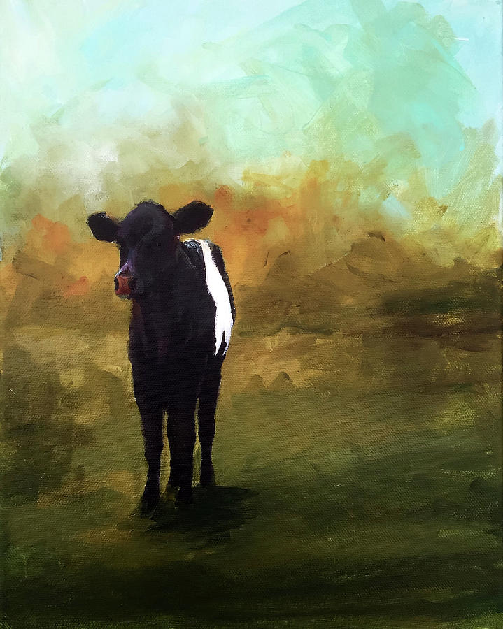 Cow Painting - The Lone Beltie by Cari Humphry