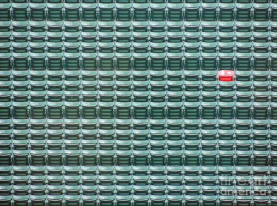 Fenway Park Photograph - The Lone Red Seat at Fenway Park by Keith Ptak
