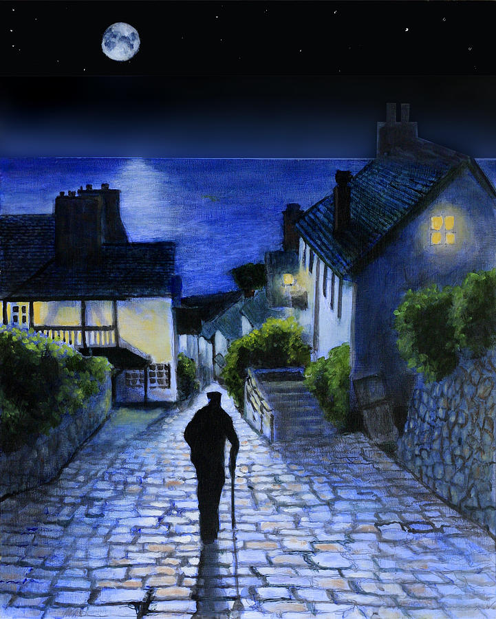 Night Painting Painting - The Long Journey Home by David Zimmerman